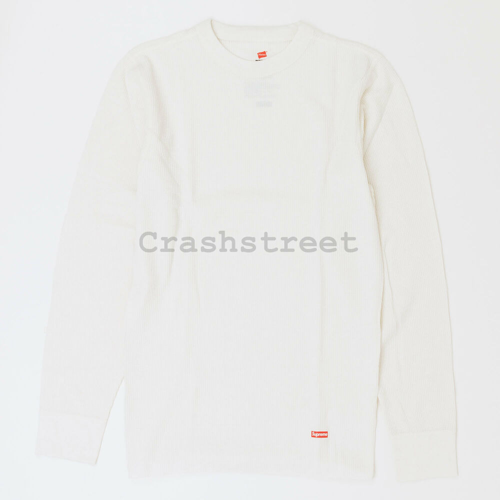 c92aa064f5e9 Details about Supreme FW18 Hanes Thermal Crew (1 Pack) top tee box camp  logo cap White
