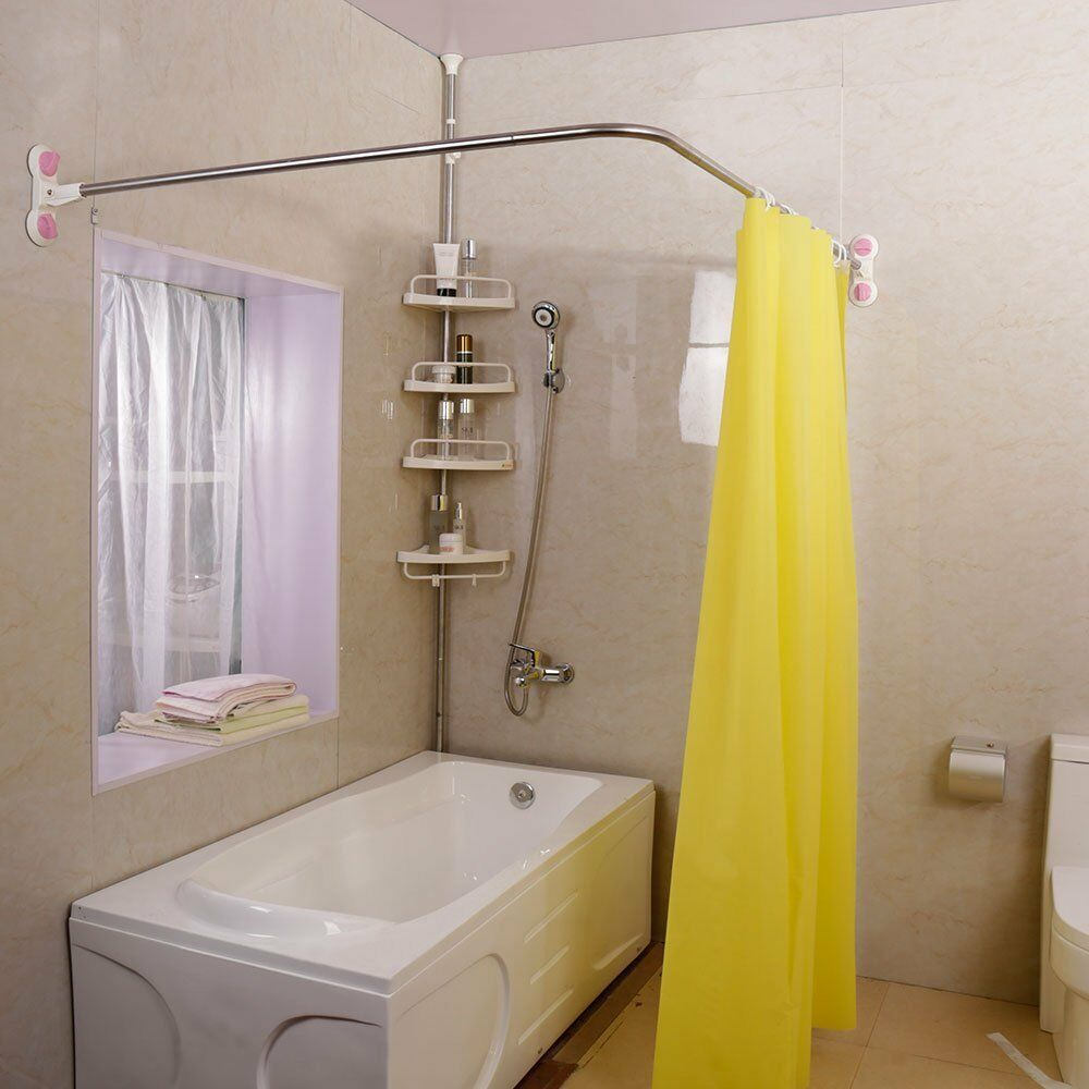Details About Expandable L Shaped Shower Curtain Rod Tension Metal Rail Bathroom Suction Cups