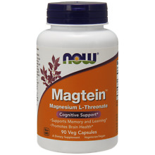 NOW Magtein 90 Veg Capsules Magnesium L-Threonate Promotes Brain Health