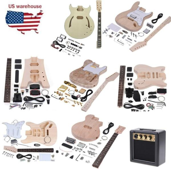 Muslady Unfinished DIY Electric Guitar Kit Set LP/ST/TL Style 3/5-way Headless