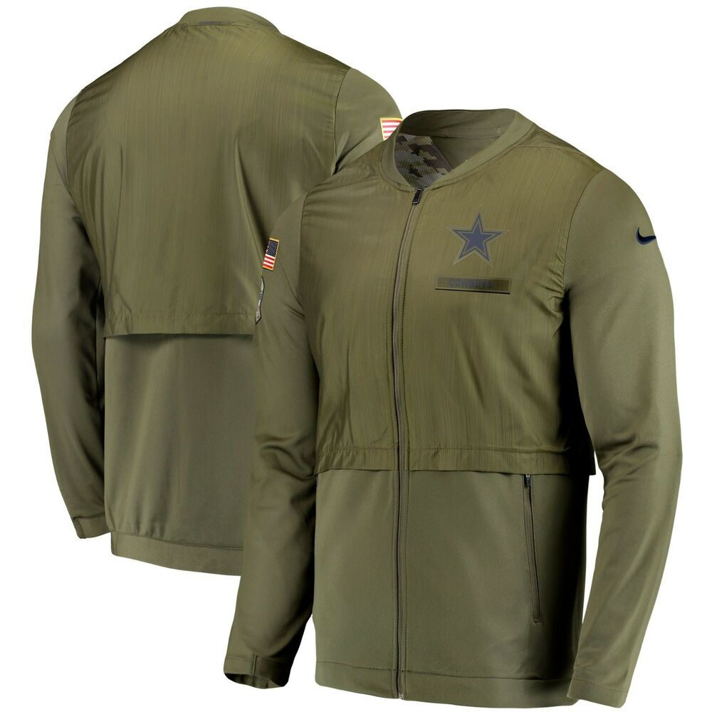8f8a9babc Details about Dallas Cowboys Nike 2018 Salute to Service Sideline Elite  Hybrid Jacket - Olive