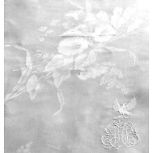 French Embroidery Dove Crest Irish Damask Linen Banquet Tablecloth Floral 115x95
