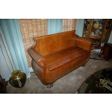 Antique oak bench seat with storage chest beautifully carved
