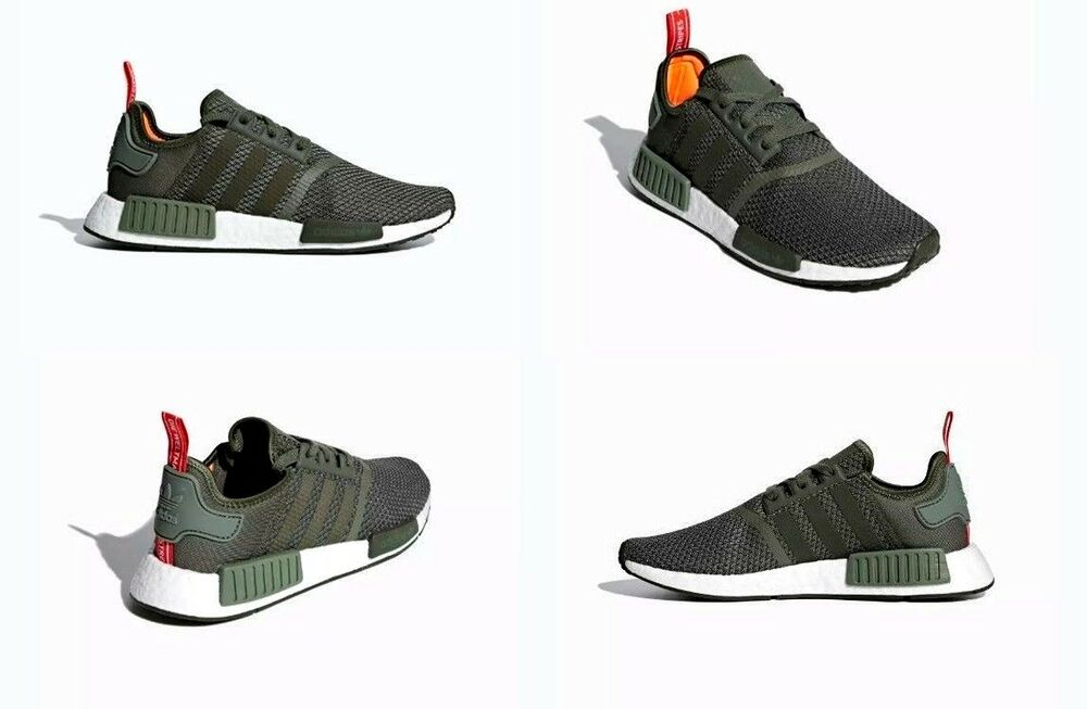 d3a5f4eff4 Details about Adidas NMD R1 Shoes Green   Night Cargo   Solar Orange Mens  Size 9 US B37620