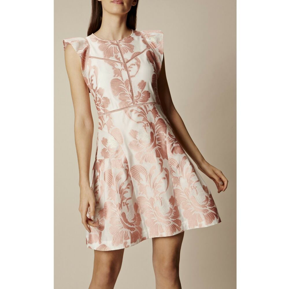 a3bee52035 Details about Size 12 UK Exquisite KAREN MILLEN Pink Floral Jacquard  Cocktail Party Mini Dress