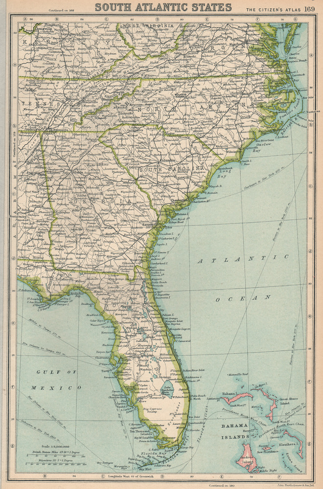 Map Of North Florida And South Georgia.Southeastern Usa Florida Georgia North South Carolina