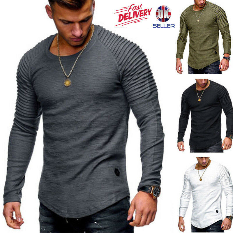 97d8d91e5 Details about Mens Long Sleeve T Shirt Slim Fit Casual Blouse Tops Autumn Clothing  Muscle Tee