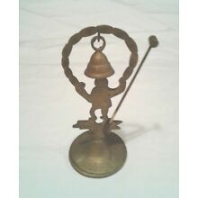 VTG ANTIQUE SOLID BRASS BELL STAND W/ HAMMER SIGNED A. HIND-ASIAN IMAGE