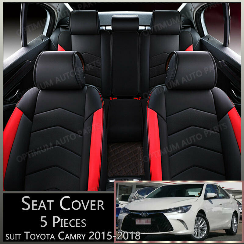 Black Red 5 Seats Pu Leather Seat Covers To Suit Toyota Camry 2012