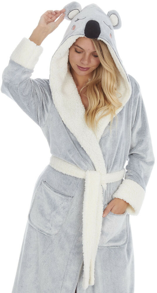 fbc1f6b0be Details about Womens Cute Hooded Super Soft Thick Snuggle Fleece Dressing  Gown Bath Robe Warm