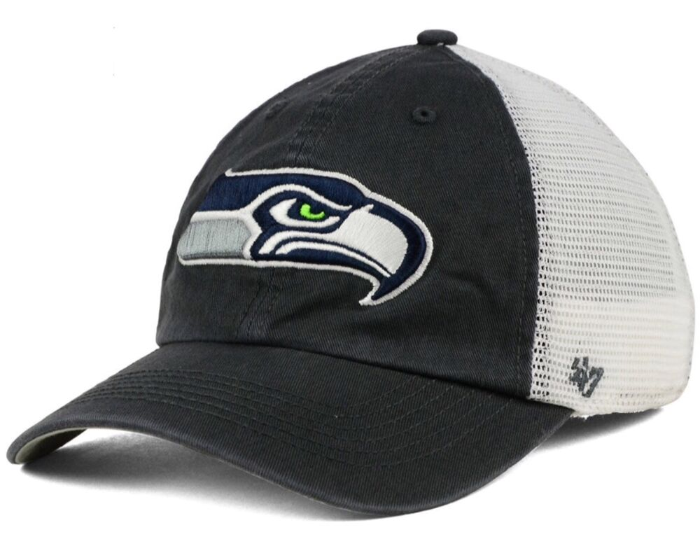 Details about Seattle Seahawks  47 Brand Blue Hill Closer FlexFit L XL Mesh  Charcoal Cap Hat fd1740d7a