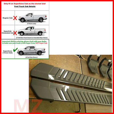 FOR 2015-2019 F150 Glossy Black Running Board Super Crew Cab OE STYLE 6