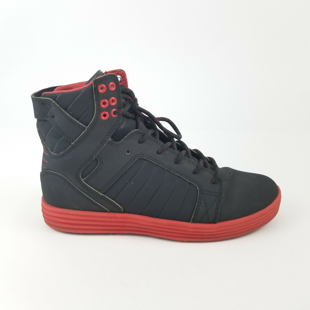 91d02c6cdea3 Details about Supra Skytop Lite Satellite Black Red Chad Muska Mens Sz 8.5  Skate Shoes