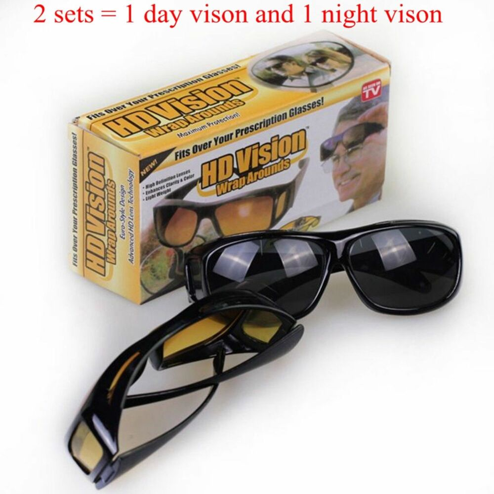 7914bc87aef Details about 2 Sets HD Night Day Vision Wraparound Sunglasses Fits over  glasses UV Protection