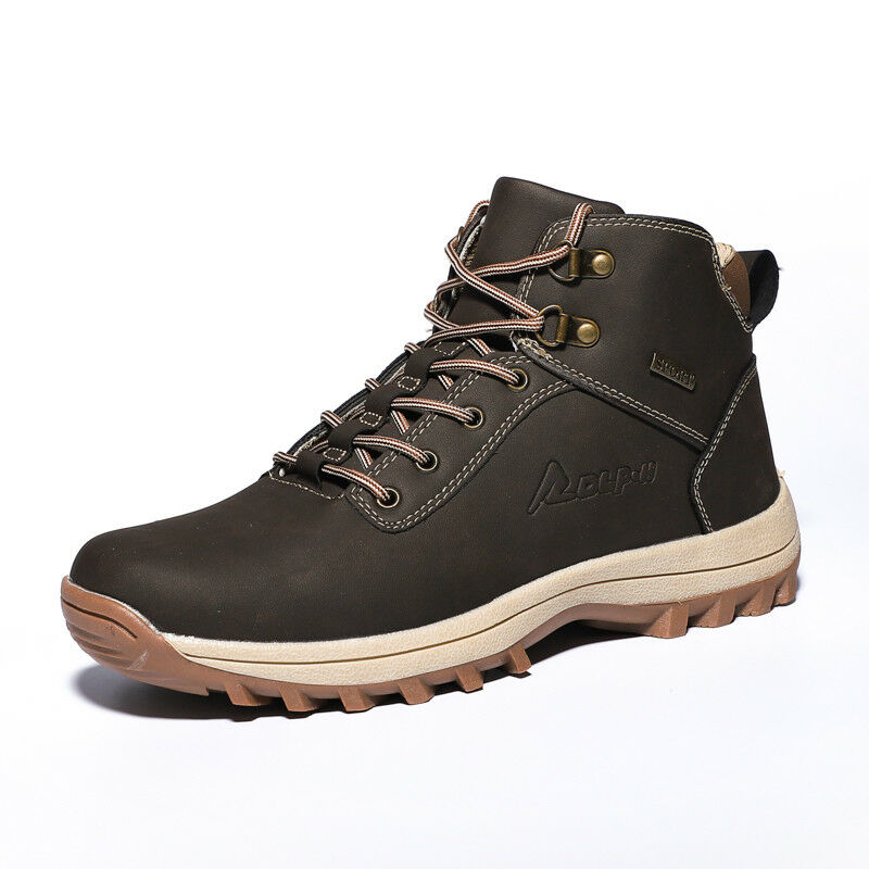 eb941d3e56 Details about Mens Leather Outdoor Winter Sneaker Snow Boots Warm Fur  Inside Hiking Booties