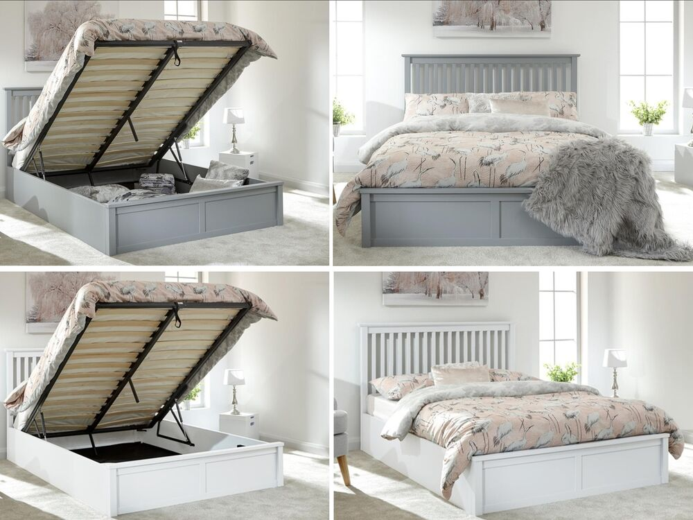 Como Wooden Ottoman Lift Up Storage Bed Grey Or White