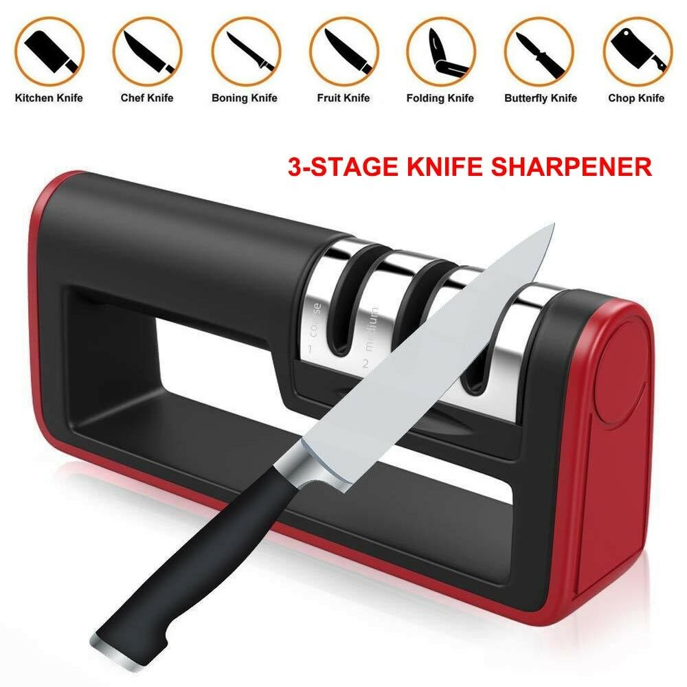 Details about 3 stages knife sharpener diamond coated kitchen handheld sharpening stone tool