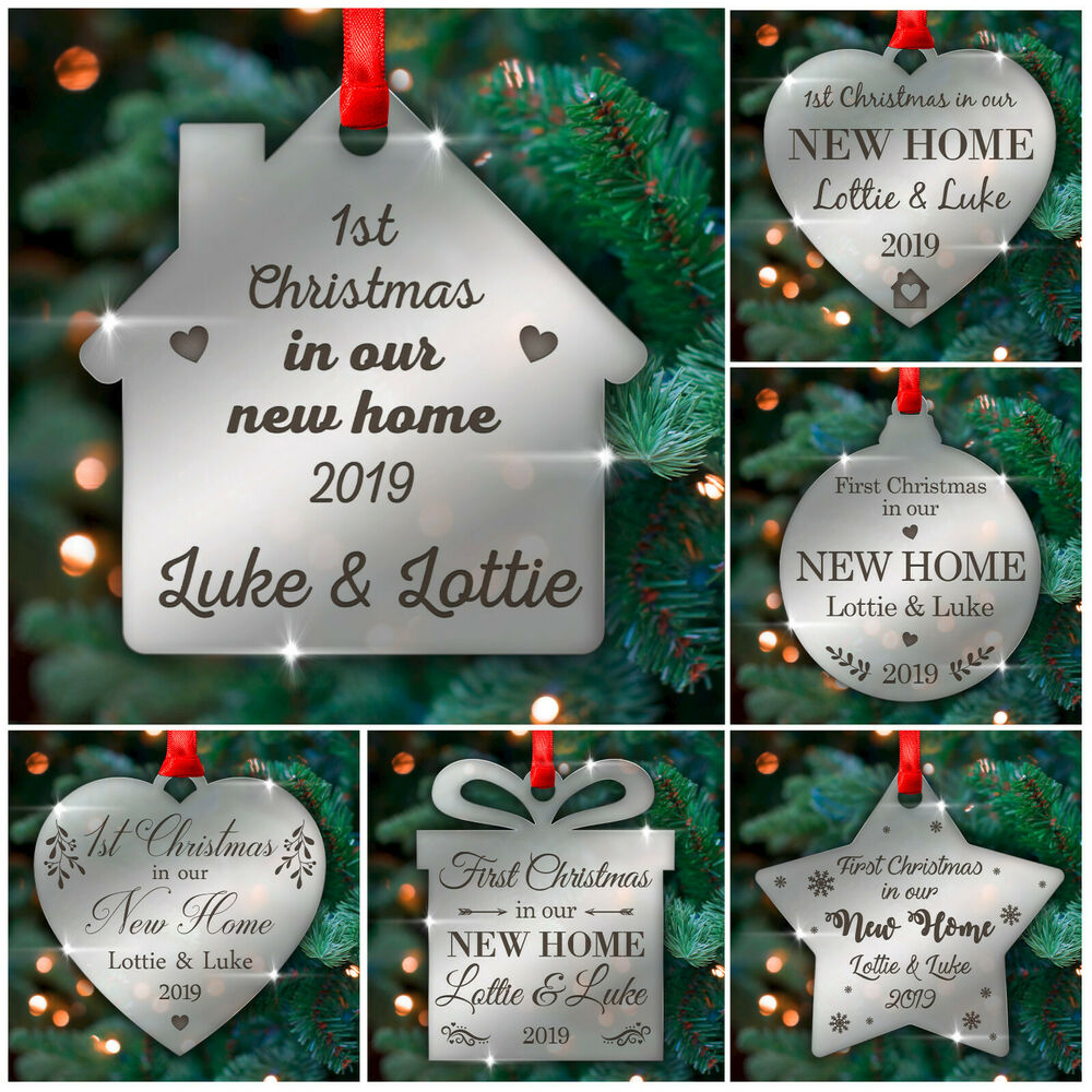 a0f0988727fb8 Details about 1st Christmas NEW HOME Personalised Xmas Tree Decorations  Baubles Ornament Gifts