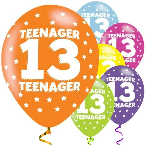 Details About Teenager 13th Birthday 11 Latex Balloons Teenage Party Helium Quality Amscan