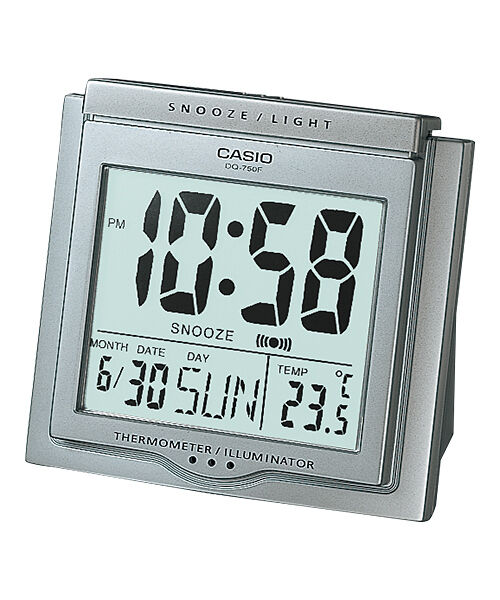 2bc1901fa450 Details about DQ-750F-8D Silver Digital Home Clock Tracel Thermometer Alarm  Snooza New