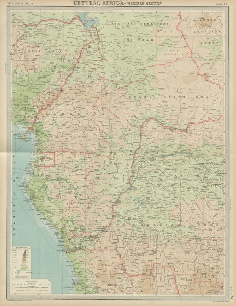 French Africa Map.Colonial Central Africa Belgian Congo French Equatorial Africa