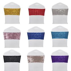 10 25 50 Sparkle Sequin Spandex Stretch Chair Sashes Cover Band Wedding  Banquet