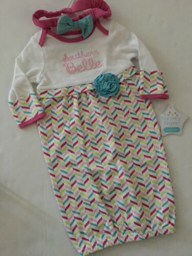 Nursery Rhyme Baby Girl Southern Belle Gown Headband Set Size 0-3 Months Layette