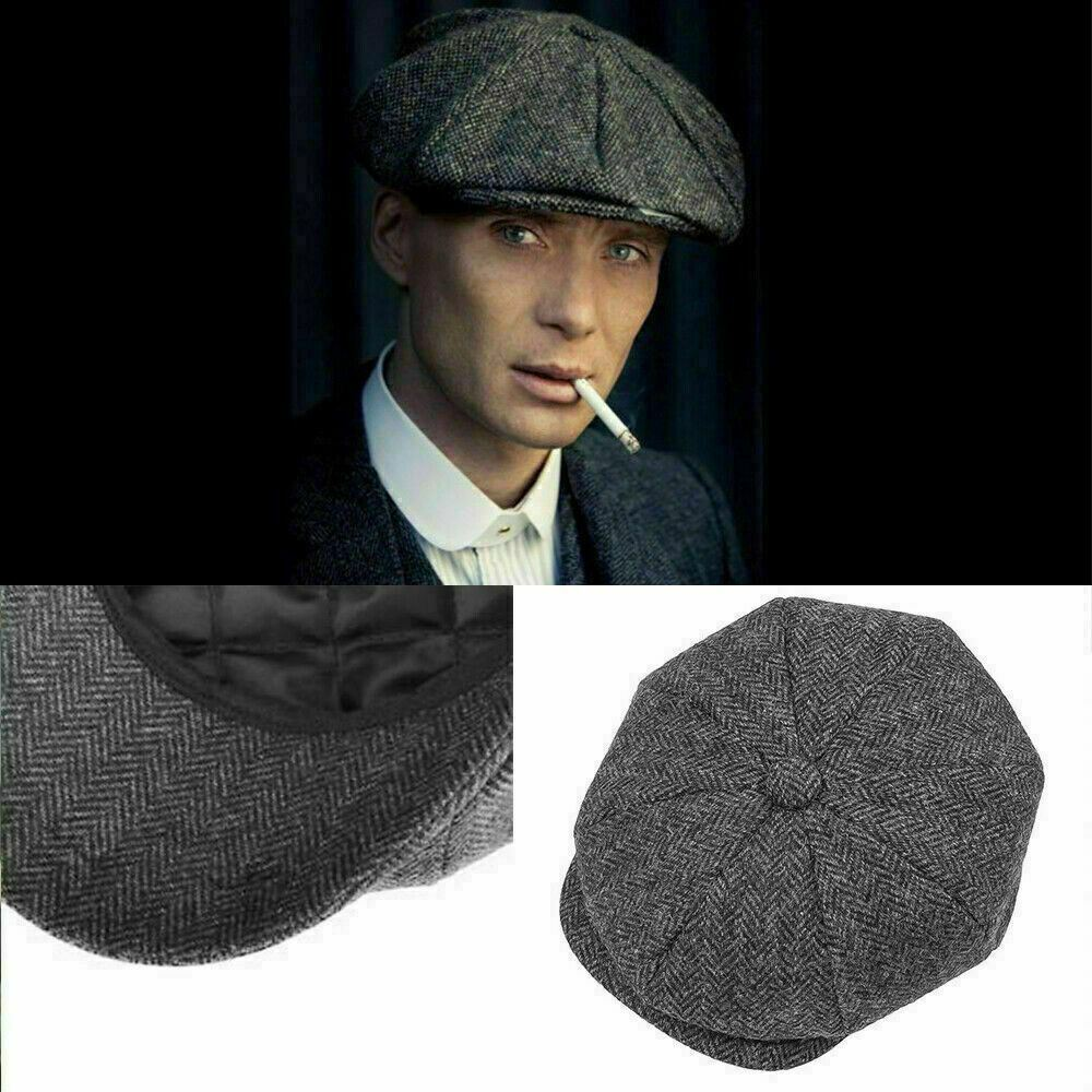 81d845a3 Details about Quality 100% Wool Peaky Blinders Cap Gatsby Newsboy Grey Harris  Tweed Hat