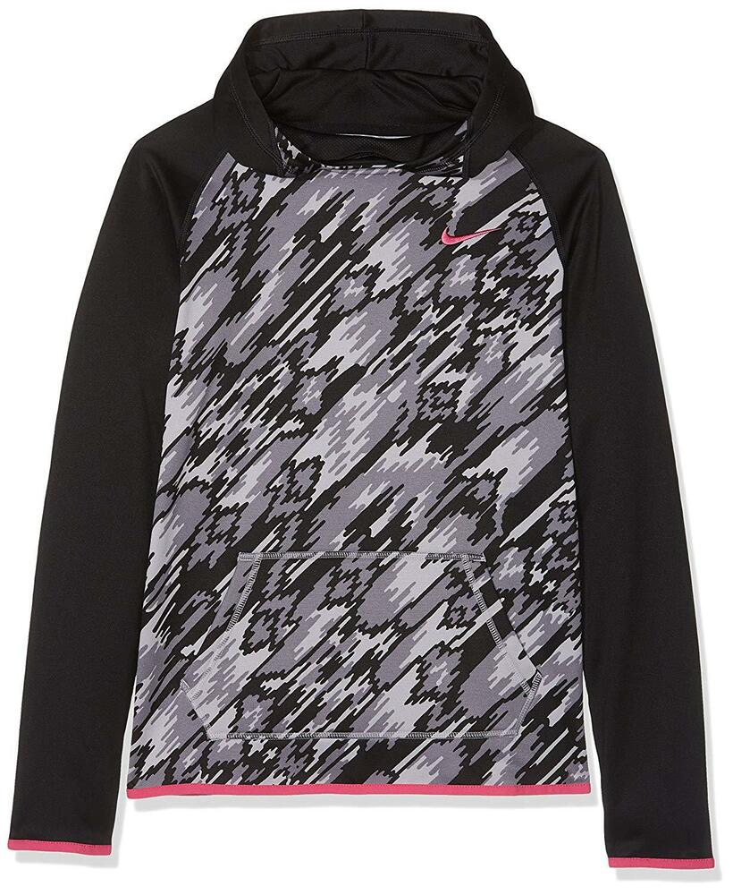 40bf5f072897f Details about NEW NIKE GIRLS THERMA TRAINING HOODIE BLACK/ PINK SZ: XL  (806015 010) RP: $50