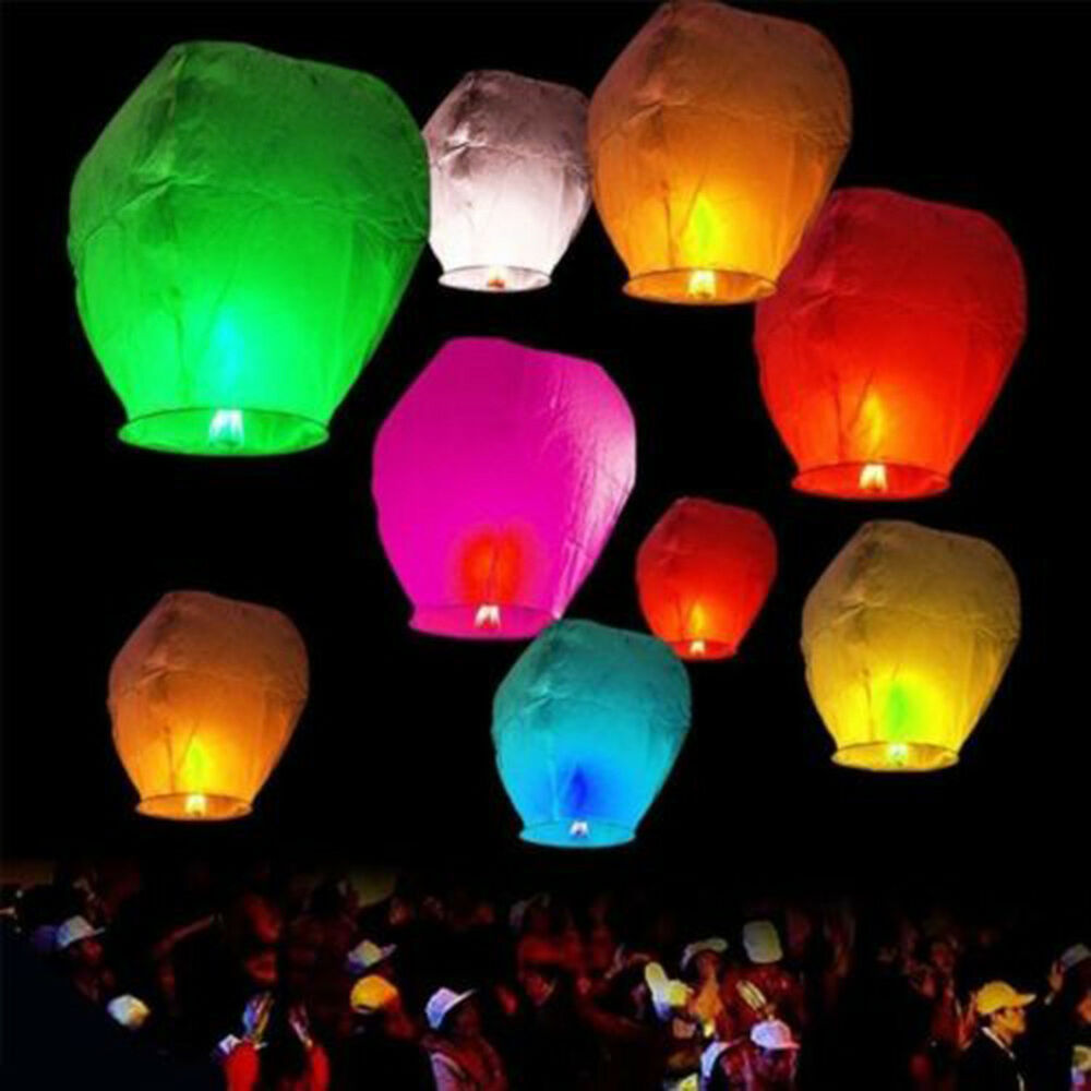 Outdoor Lighting Lot 10pcs Paper Chinese Lanterns Sky Fly Candle Lamp For Wish Party Wedding Outdoor String Lights