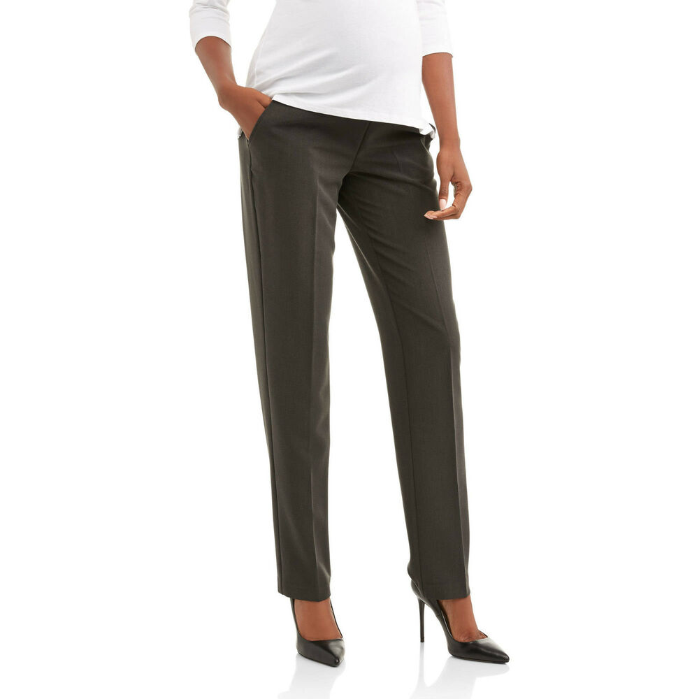 113fc328a9bf7a Details about Oh! Mamma Maternity Full-Panel Straight Leg Career Pants w/  Pockets