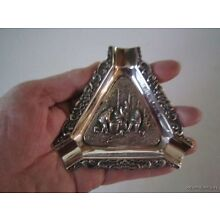 Vintage DENMARK Fish Silver Plate TRIANGLE ASHTRAY Farm Scene