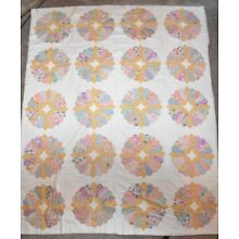 Vintage 1930s & 1940s Fancy Dresden Plate Quilt w/ Scalloped Edge 78