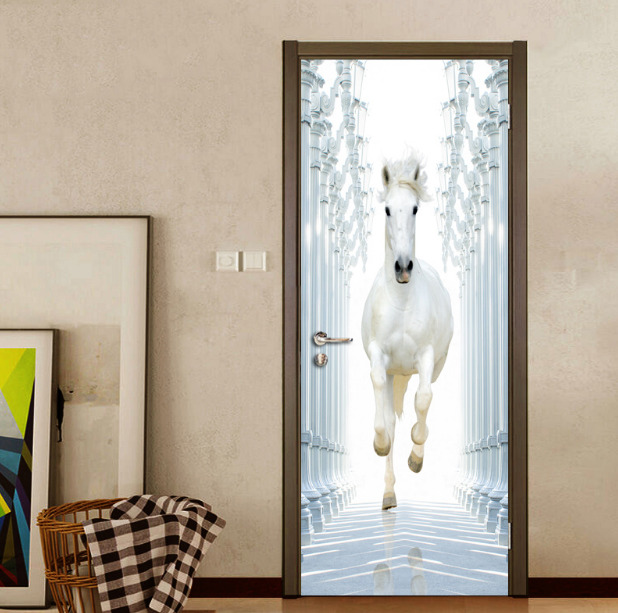 Details About 3D Roman Column White Horse Self Adhesive Door Murals Stickers Home Decor