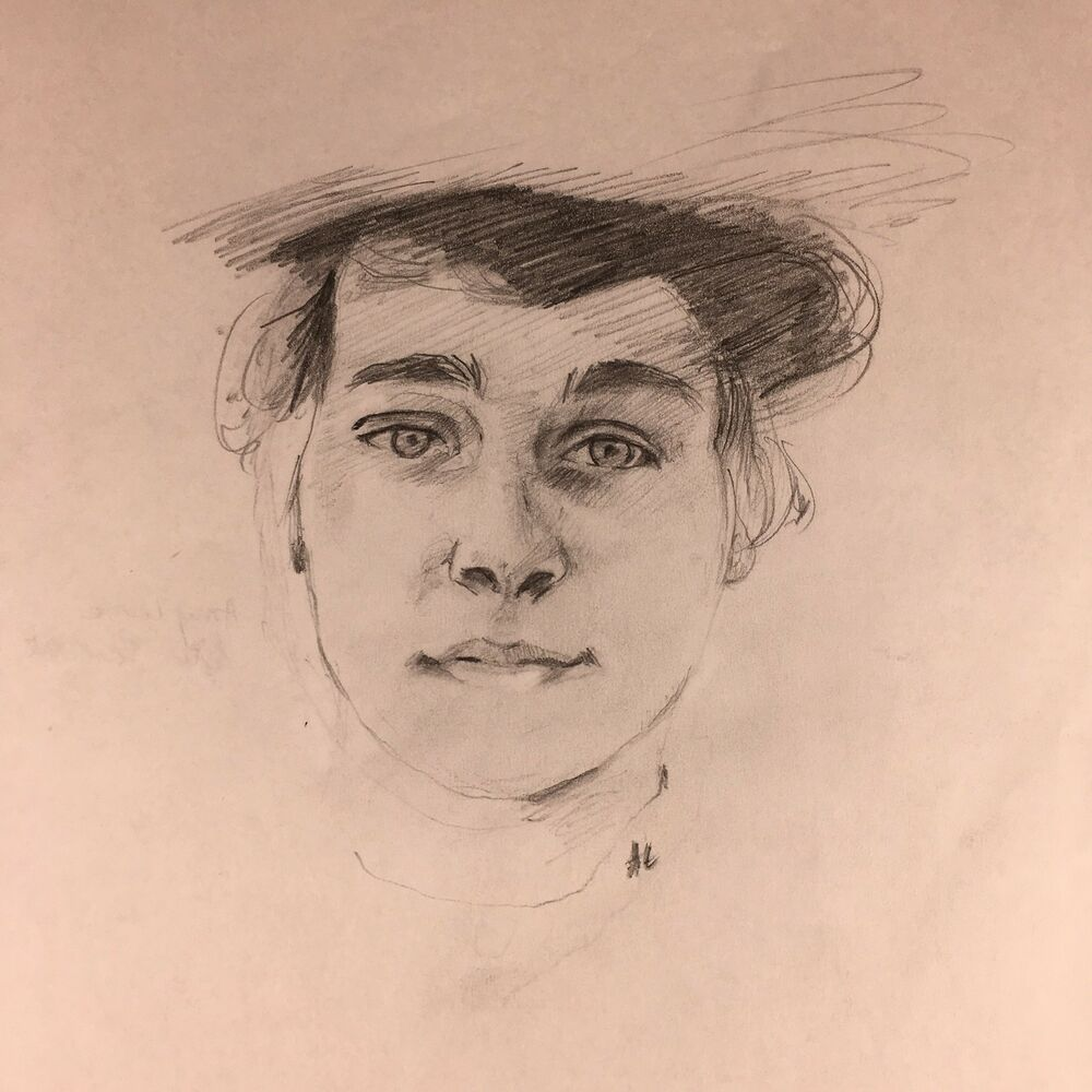 Details about woman in hat pencil drawing portrait study