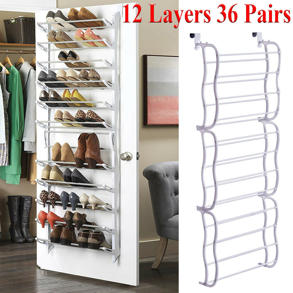 Details About Over The Door Shoe Rack 36 Pairs Wall Hanging Closet Organizer Storage Stand Pcc