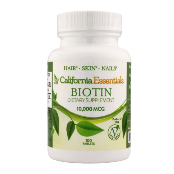 Biotin 10 000 mcg Maximum Strength High Potency 100 Tablets Hair Skin and Nails