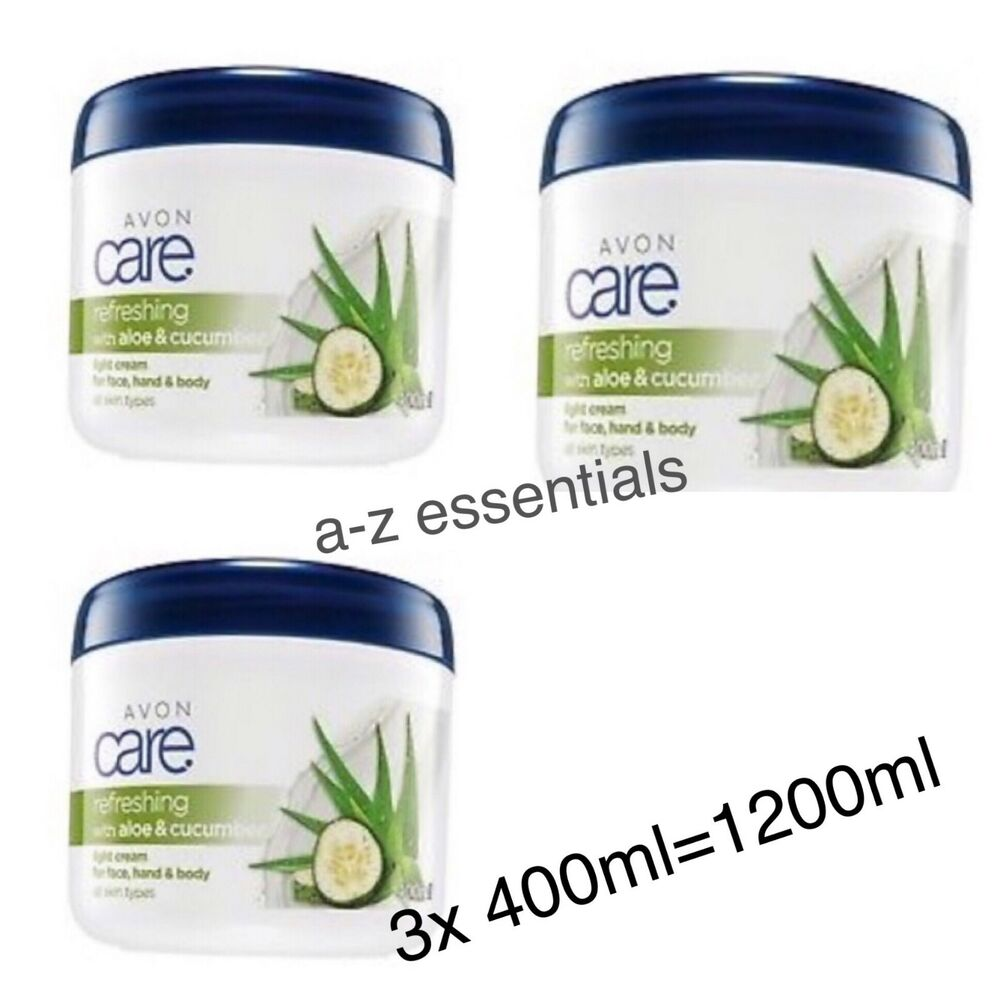 3x Avon Aloe Cucumber Light Family Cream For Face Hand Body
