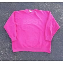 Vintage 1980s ESPRIT Jeans Pink On Pink Spell Out Pullover Sweatshirt Size XL
