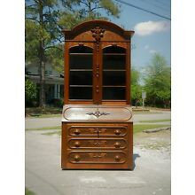 Walnut Victorian Secretary Bookcase Curio Top~Dated 1868