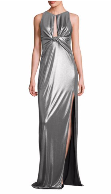 a533886797cae3 Halston Heritage Silver Metallic Jersey Cutout Gown Evening Dress Size 6 |  eBay