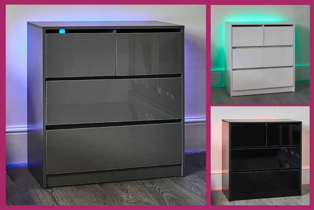 Led High Gloss Bedside Chest Of Drawers Black White Grey