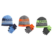 NWT Boys Youth Under Armour Winter Beanie Hat Glove Set Blue Orange Green SZ 4-6