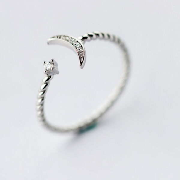 925 Silver White CZ Twisted Roped Crescent Moon Star Ring Thin Adjustable Ring