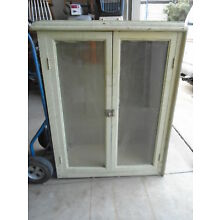 VINTAGE WOOD Primitive Farmhouse CUPBOARD DISPLAY CABINET Glass Doors