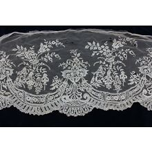 Antique French c1850 Handmade Wide Lace Flounce~L-13