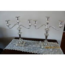 ANTIQUE TABLETOP CANDELABRAS SILVERPLATE  (2) -  MATCHING PAIR  -  3 TAPER EACH