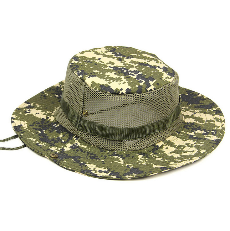 035d514f6df Details about Men Bucket Boonie Sun Hat Camo Wide Brim Outdoor Fishing Hunting  Cap Mesh Hats