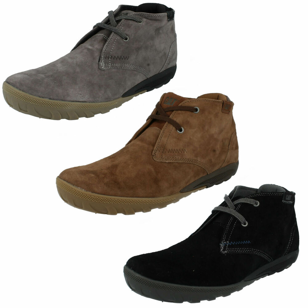 af6b1028342 Details about MENS CATERPILLAR CRUMP MID SUEDE LEATHER LACE UP CASUAL WORK SHOES  ANKLE BOOTS