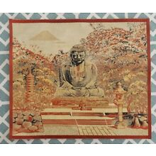 Tapestry Buddha in Garden Scene Silk Artwork